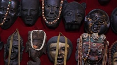 Various masks of the ancient gods Stock Footage