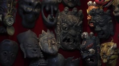 Masks on the wall Stock Footage