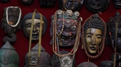 Ancient masks in Nepalese style Stock Footage