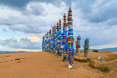 Pagan Buryat Pole Totems on Olkhon island, Lake Baikal - stock photo