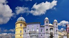 Pena Nation Palace with time lapse clouds. Sintra. Portugal Stock Footage