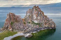 Shaman Rock, Lake Baikal in Russia Stock Photos