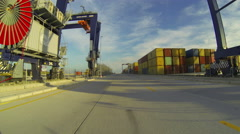 Port Container Traveling Fast Stock Footage