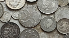 Silver coins Imperial Russia1 Stock Footage