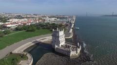 Aerial view of Belem tower - Torre de Belem in Lisbon, Portugal Stock Footage