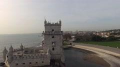Aerial view of Belem tower - Torre de Belem in Lisbon, Portugal - stock footage