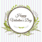 Valentine's day. Card with leaves and brunches Stock Illustration
