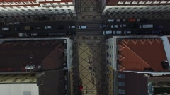 Top View of Augusta Street - Arch - Commerce Square, Lisbon, Portugal - stock footage