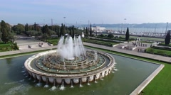 Aerial View of the Fountain located in Empire Square in Belem, Lisbon, Portugal - stock footage