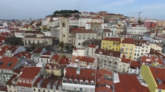 Alfama Colored Houses, Lisbon, Portugal Stock Footage