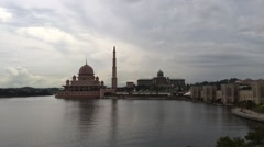 Putra Mosque, Perdana Putra and Putra Bridge in Putrajaya, time lapse video Stock Footage