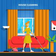 House Cleaning Background Illustration Stock Illustration
