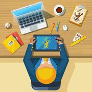 Work Place Designer Flat Icon Poster - stock illustration