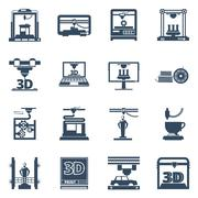 3D Printing Black Contour Icons Collection Stock Illustration