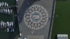 Top View of the Mosaic World Map and Monument of the Discoveries, Lisbon Stock Footage
