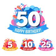 Anniversary Emblems  With Happy Birthday Congratulations Stock Illustration