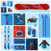 Skiing Equipment Icons Set - stock illustration