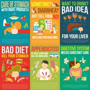 Digestion Posters Set - stock illustration