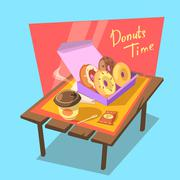 Donuts time concept - stock illustration