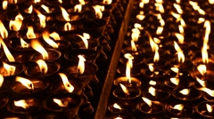 Candles/oil lamps - close up Stock Footage