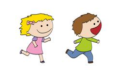 Two funny running children Stock Illustration