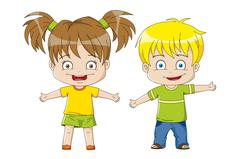 Two nice Kids - stock illustration