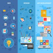 Programming Banners Set - stock illustration