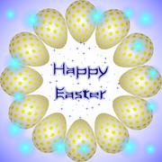 Happy Easter holiday eggs with yellow stars arranged in a circle - stock illustration