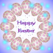 Stock Illustration of Happy Easter holiday eggs with violet round ornament arranged in a circle