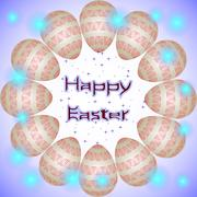 Happy Easter holiday eggs with red interweaving ornament arranged in a circle - stock illustration