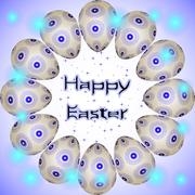 Happy Easter postcard with eggs in circle, little blue stars and transparent - stock illustration