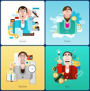Emotion flat set Stock Illustration