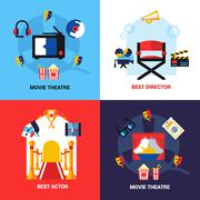 Cinema Design Concept Set - stock illustration