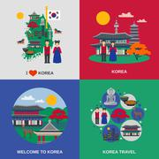 Korean Culture Flat 4 Icons Square Stock Illustration