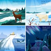 Northern Landscape 4 Flat Icons Square - stock illustration