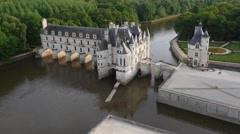Chenonceau chateau, Loire Valley, France by drone Stock Footage