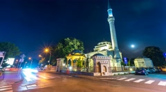Ferhadija mosque in Banjaluka by night Stock Footage