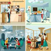 Restaurant People 2x2 Design Concept - stock illustration