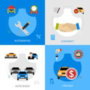 Car Dealership Flat Icons Square Concept - stock illustration