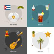 Cuba 4 Flat Icons Square Composition Stock Illustration