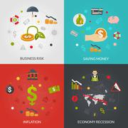 Ffinancial Crisis 4 Flat Icons Square - stock illustration