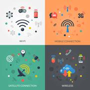 Wireless Technology 4 Flat Icons Square Stock Illustration