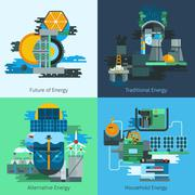 Energy production flat set - stock illustration