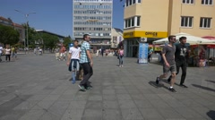People in centre of Banjaluka city Stock Footage