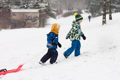 Stock Photo of Two kids, boy brothers, sliding with bob in the snow, wintertime