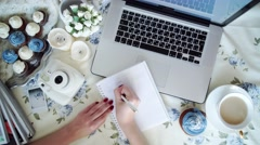 woman cafe, muffin and laptop - stock footage