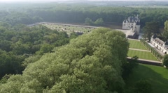 Chenonceau chateau, Loire Valley, France by drone - stock footage