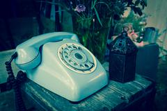 Blue vintage phone Stock Photos