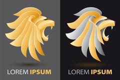 Bellowing lion head fancy, luxurious company logo concept Stock Illustration