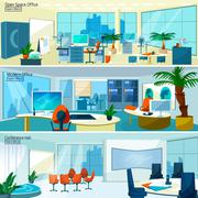 Modern office interiors banners - stock illustration